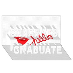 Hello Lip Red Sexy Congrats Graduate 3D Greeting Card (8x4) by AnjaniArt