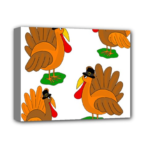 Thanksgiving Turkeys Deluxe Canvas 14  X 11  by Valentinaart