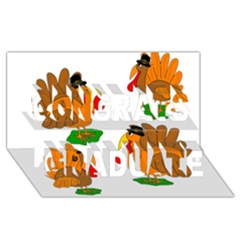 Thanksgiving Turkeys Congrats Graduate 3d Greeting Card (8x4) by Valentinaart
