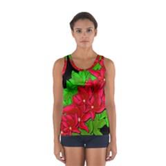 Xmas Red Flowers Women s Sport Tank Top  by Valentinaart