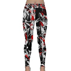 Red abstract flowers Classic Yoga Leggings by Valentinaart