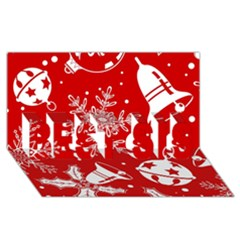 Red Winter Holiday Pattern Red Christmas Best Sis 3d Greeting Card (8x4) by AnjaniArt