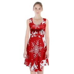 Red Winter Holiday Pattern Red Christmas Racerback Midi Dress by AnjaniArt