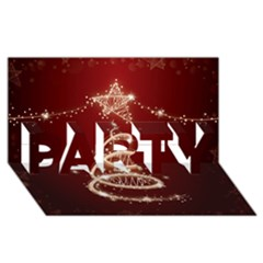 Shiny Christmas Tree Party 3d Greeting Card (8x4) by AnjaniArt
