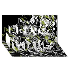Green Floral Abstraction Best Wish 3d Greeting Card (8x4) by Valentinaart