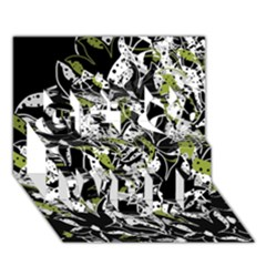 Green Floral Abstraction Get Well 3d Greeting Card (7x5) by Valentinaart