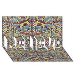 Multicolor Abstract Believe 3d Greeting Card (8x4) by dflcprintsclothing