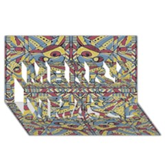 Multicolor Abstract Merry Xmas 3d Greeting Card (8x4) by dflcprintsclothing