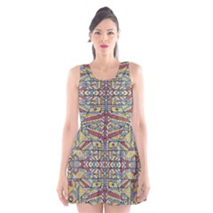 Multicolor Abstract Scoop Neck Skater Dress by dflcprintsclothing