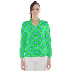Mod Blue Circles On Bright Green Wind Breaker (women) by BrightVibesDesign