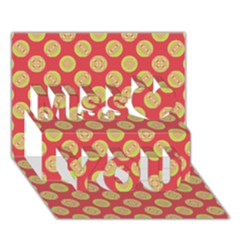Mod Yellow Circles On Orange Miss You 3d Greeting Card (7x5) by BrightVibesDesign