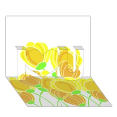 Yellow Flowers I Love You 3d Greeting Card (7x5) by Valentinaart