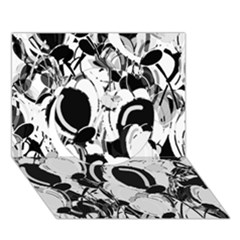 Black And White Garden Circle 3d Greeting Card (7x5) by Valentinaart