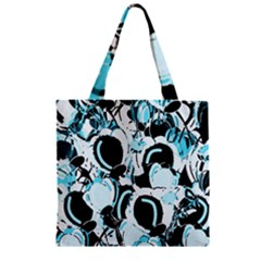 Blue Abstract  Garden Zipper Grocery Tote Bag by Valentinaart