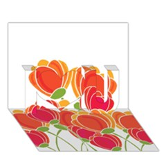 Orange Flowers  I Love You 3d Greeting Card (7x5) by Valentinaart