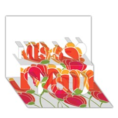 Orange Flowers  Miss You 3d Greeting Card (7x5) by Valentinaart