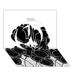 Black Flowers Peace Sign 3d Greeting Card (7x5) by Valentinaart