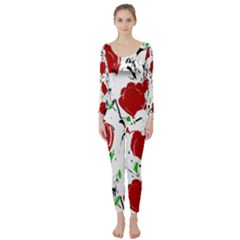 Red roses 2 Long Sleeve Catsuit by Valentinaart
