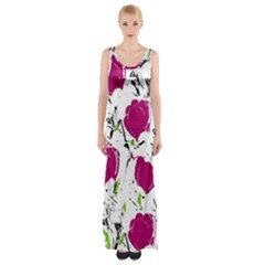 Magenta Roses Maxi Thigh Split Dress by Valentinaart