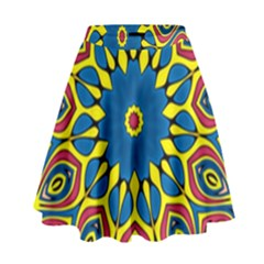 Yellow Flower Mandala High Waist Skirt by designworld65