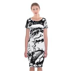 Santa Claus Christmas Holly Classic Short Sleeve Midi Dress by Zeze