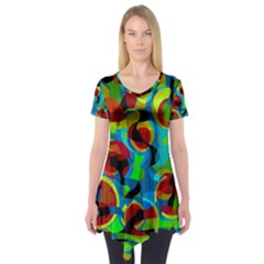 Colorful Smoothie  Short Sleeve Tunic  by Valentinaart