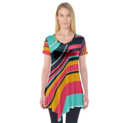 Bent Waves                                 Short Sleeve Tunic by LalyLauraFLM