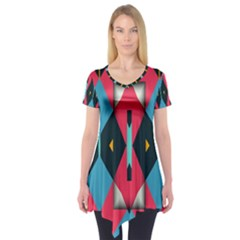 Triangles stripes and other shapes                                  Short Sleeve Tunic by LalyLauraFLM