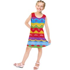 Colorful Waves              Kid s Tunic Dress