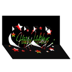 Happy Holidays 2  Twin Hearts 3d Greeting Card (8x4) by Valentinaart