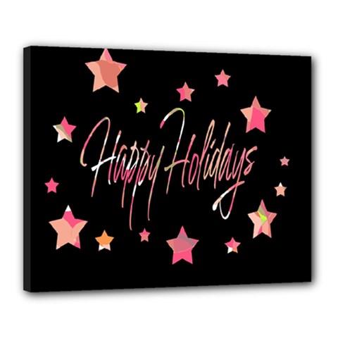 Happy Holidays 3 Canvas 20  X 16  by Valentinaart