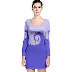 Blue Purple Abstract Wave Design  Long Sleeve Velvet Bodycon Dress by GabriellaDavid