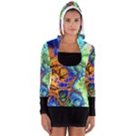 Abstract Fractal Batik ART Teal Turquoise Salmon Women s Long Sleeve Hooded T-shirt