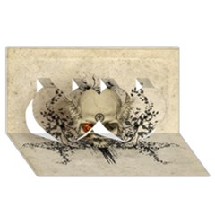 Awesome Skull With Flowers And Grunge Twin Hearts 3d Greeting Card (8x4) by FantasyWorld7