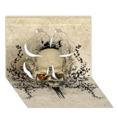 Awesome Skull With Flowers And Grunge Clover 3d Greeting Card (7x5) by FantasyWorld7