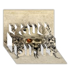 Awesome Skull With Flowers And Grunge You Did It 3d Greeting Card (7x5) by FantasyWorld7