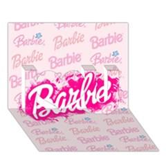 Barbie Pattern I Love You 3d Greeting Card (7x5)
