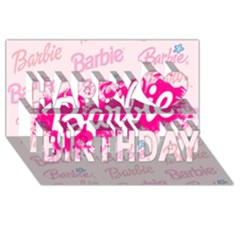 Barbie Pattern Happy Birthday 3d Greeting Card (8x4) by Onesevenart