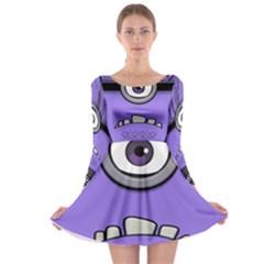 Evil Purple Long Sleeve Skater Dress by Onesevenart