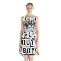Fall Out Boy Lyric Art Sleeveless Chiffon Waist Tie Dress by Onesevenart
