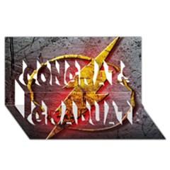 Grunge Flash Logo Congrats Graduate 3d Greeting Card (8x4) by Onesevenart