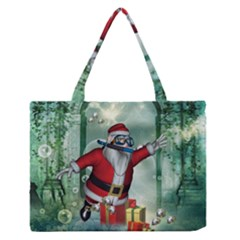 Funny Santa Claus In The Underwater World Medium Zipper Tote Bag by FantasyWorld7