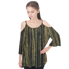 Green And Brown Bamboo Trees Flutter Tees by Zeze