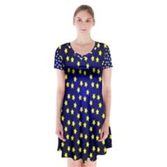 Star Christmas Yellow Short Sleeve V-neck Flare Dress by Mugomugo