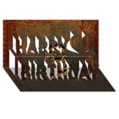 Awesome Dragon, Tribal Design Happy Birthday 3d Greeting Card (8x4) by FantasyWorld7