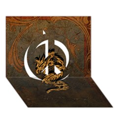 Awesome Dragon, Tribal Design Peace Sign 3d Greeting Card (7x5) by FantasyWorld7
