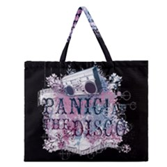 Panic At The Disco Art Zipper Large Tote Bag by Onesevenart