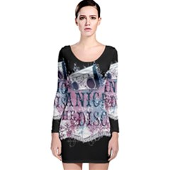 Panic At The Disco Art Long Sleeve Velvet Bodycon Dress by Onesevenart