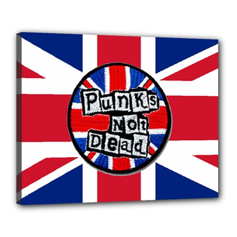 Punk Not Dead Music Rock Uk United Kingdom Flag Canvas 20  X 16  by Onesevenart