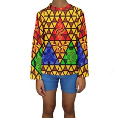 The Triforce Stained Glass Kids  Long Sleeve Swimwear by Onesevenart